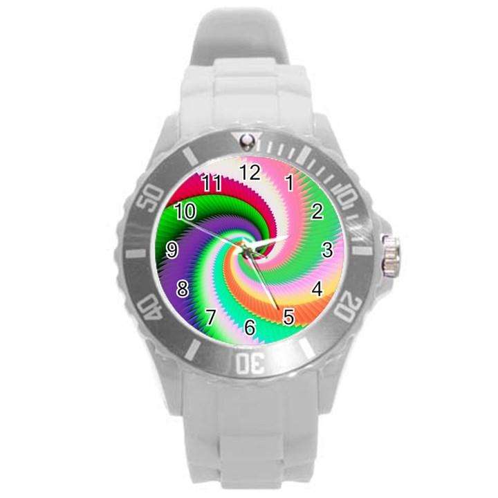 Colorful Spiral Dragon Scales   Round Plastic Sport Watch (L)