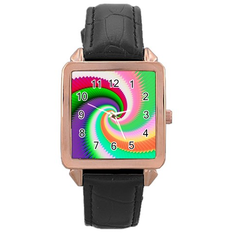 Colorful Spiral Dragon Scales   Rose Gold Leather Watch
