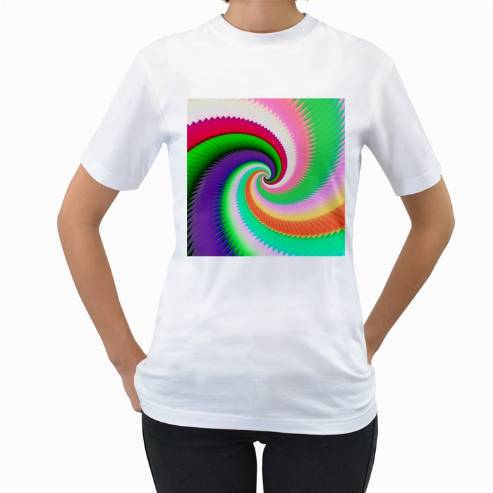 Colorful Spiral Dragon Scales   Women s T-Shirt (White)