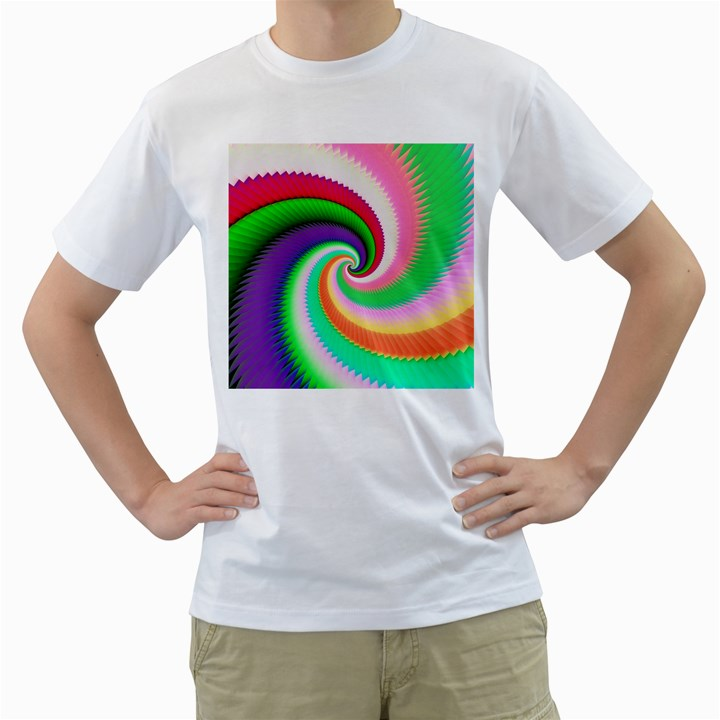 Colorful Spiral Dragon Scales   Men s T-Shirt (White)