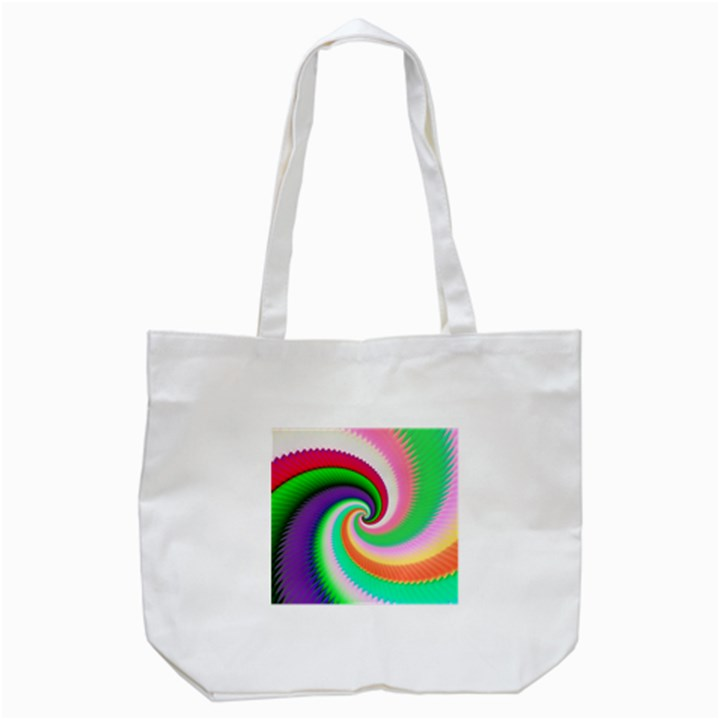 Colorful Spiral Dragon Scales   Tote Bag (White)