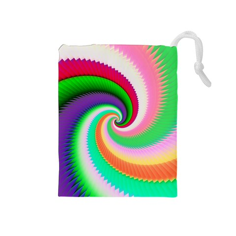 Colorful Spiral Dragon Scales   Drawstring Pouches (Medium)