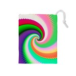 Colorful Spiral Dragon Scales   Drawstring Pouches (Medium)  Front