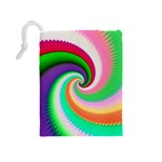 Colorful Spiral Dragon Scales   Drawstring Pouches (Medium)  Back