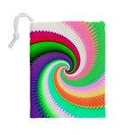 Colorful Spiral Dragon Scales   Drawstring Pouches (Large)  Back