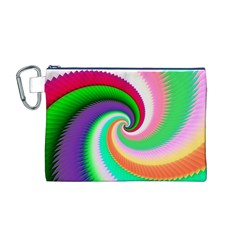 Colorful Spiral Dragon Scales   Canvas Cosmetic Bag (m)