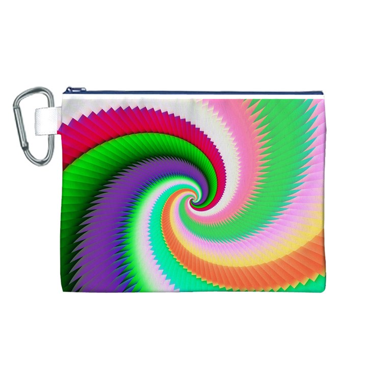 Colorful Spiral Dragon Scales   Canvas Cosmetic Bag (L)
