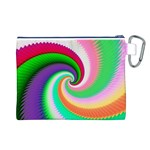 Colorful Spiral Dragon Scales   Canvas Cosmetic Bag (L) Back