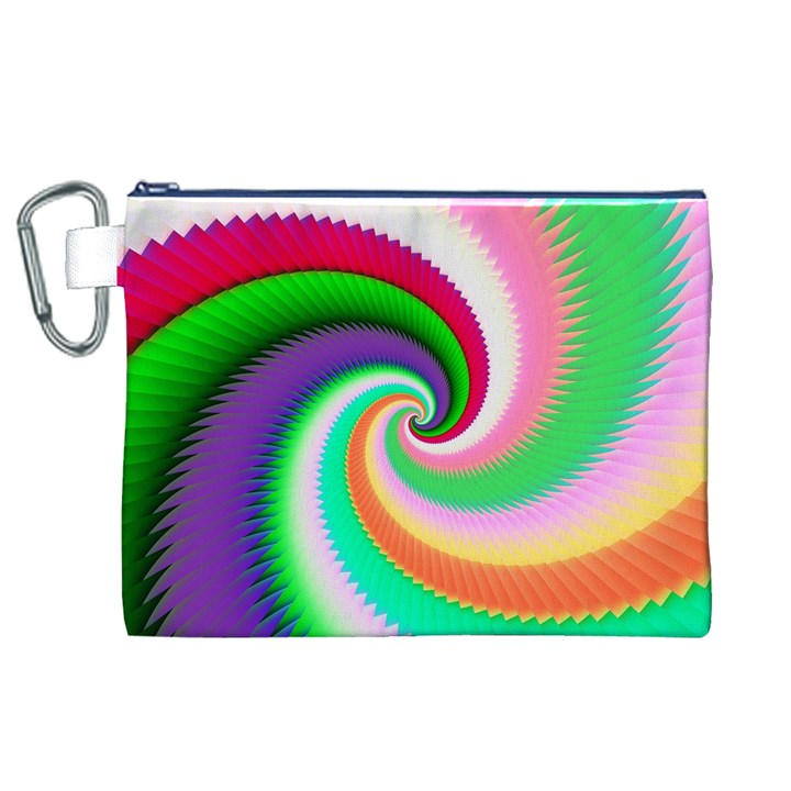 Colorful Spiral Dragon Scales   Canvas Cosmetic Bag (XL)