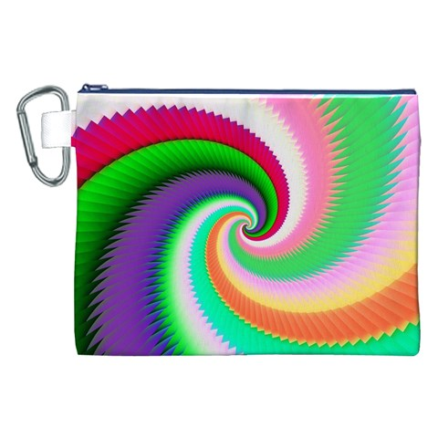 Colorful Spiral Dragon Scales   Canvas Cosmetic Bag (XXL)