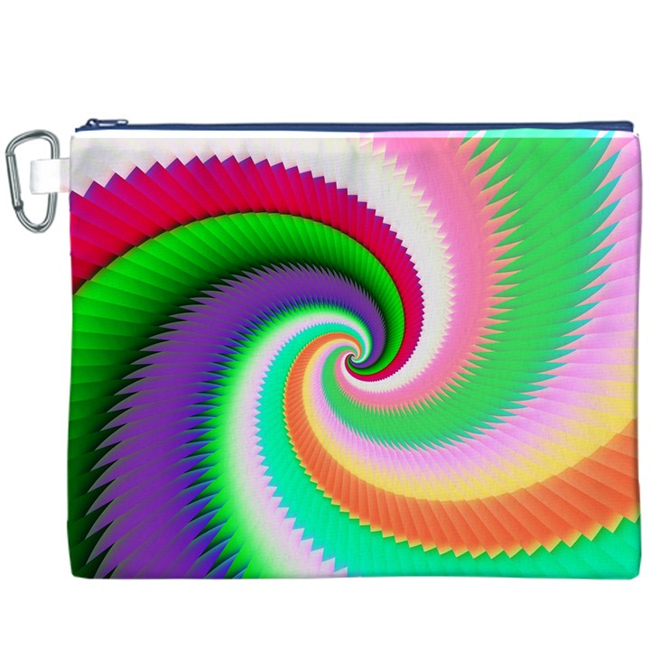 Colorful Spiral Dragon Scales   Canvas Cosmetic Bag (XXXL)
