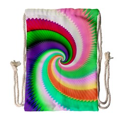 Colorful Spiral Dragon Scales   Drawstring Bag (Large)