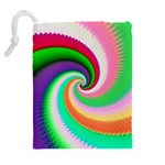 Colorful Spiral Dragon Scales   Drawstring Pouches (Extra Large) Back