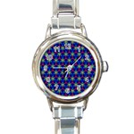 Honeycomb Fractal Art Round Italian Charm Watch Front