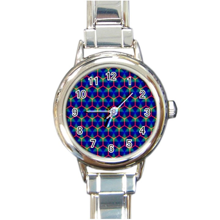 Honeycomb Fractal Art Round Italian Charm Watch