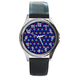 Honeycomb Fractal Art Round Metal Watch Front