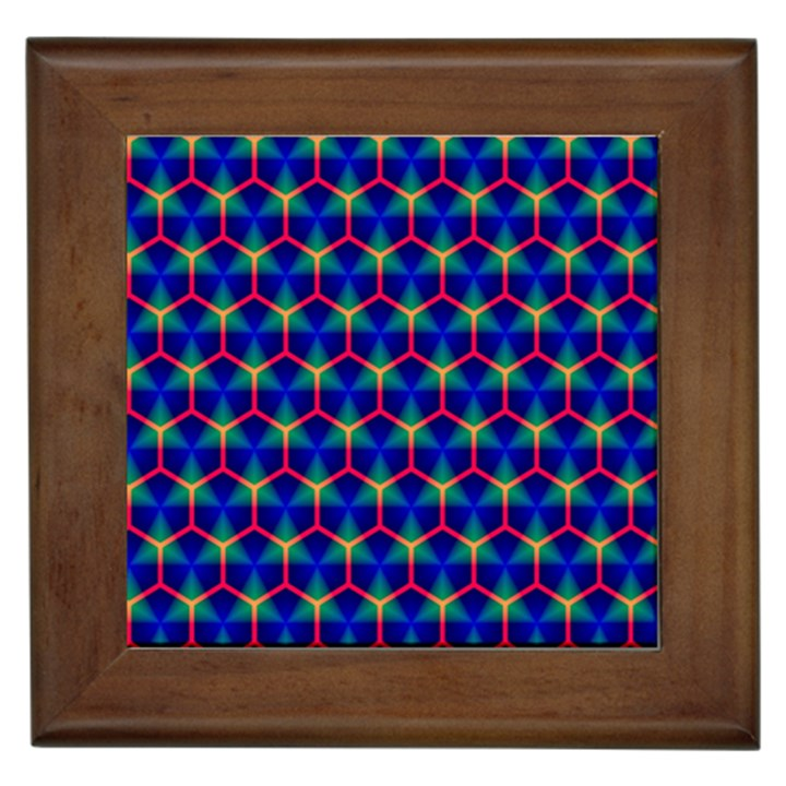 Honeycomb Fractal Art Framed Tiles