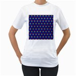 Honeycomb Fractal Art Women s T-Shirt (White) (Two Sided) Front