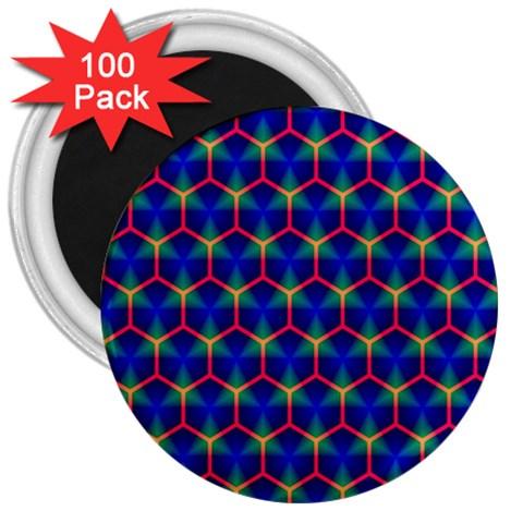 Honeycomb Fractal Art 3  Magnets (100 pack)
