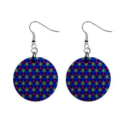 Honeycomb Fractal Art Mini Button Earrings