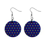 Honeycomb Fractal Art Mini Button Earrings Front