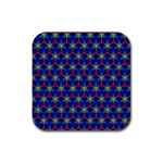 Honeycomb Fractal Art Rubber Square Coaster (4 pack)  Front