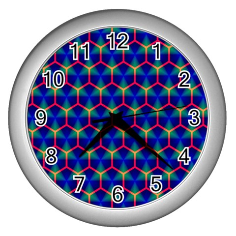 Honeycomb Fractal Art Wall Clocks (Silver)