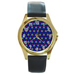 Honeycomb Fractal Art Round Gold Metal Watch Front