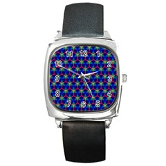 Honeycomb Fractal Art Square Metal Watch
