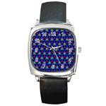 Honeycomb Fractal Art Square Metal Watch Front