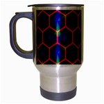 Honeycomb Fractal Art Travel Mug (Silver Gray) Left