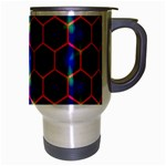 Honeycomb Fractal Art Travel Mug (Silver Gray) Right