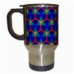 Honeycomb Fractal Art Travel Mugs (White) Left