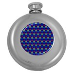 Honeycomb Fractal Art Round Hip Flask (5 oz) Front