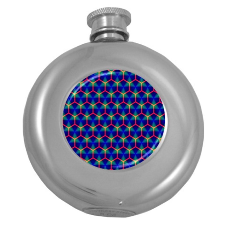 Honeycomb Fractal Art Round Hip Flask (5 oz)