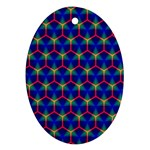Honeycomb Fractal Art Oval Ornament (Two Sides) Front