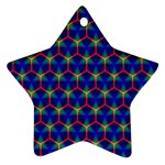 Honeycomb Fractal Art Star Ornament (Two Sides)  Front