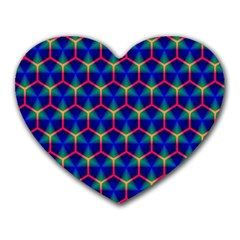 Honeycomb Fractal Art Heart Mousepads