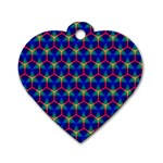 Honeycomb Fractal Art Dog Tag Heart (Two Sides) Front