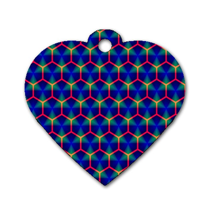 Honeycomb Fractal Art Dog Tag Heart (Two Sides)