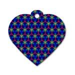 Honeycomb Fractal Art Dog Tag Heart (Two Sides) Back