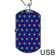 Honeycomb Fractal Art Dog Tag USB Flash (One Side)