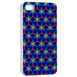 Honeycomb Fractal Art Apple iPhone 4/4s Seamless Case (White) Front