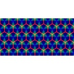 Honeycomb Fractal Art Twin Hearts 3D Greeting Card (8x4) Back