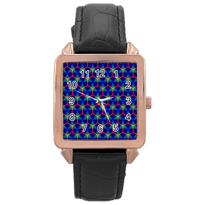 Honeycomb Fractal Art Rose Gold Leather Watch