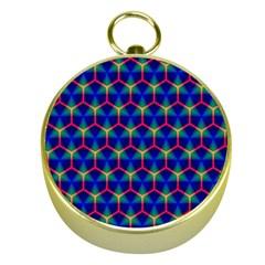 Honeycomb Fractal Art Gold Compasses
