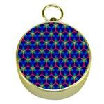 Honeycomb Fractal Art Gold Compasses Front