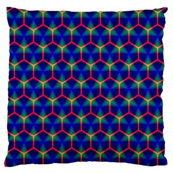 Honeycomb Fractal Art Large Flano Cushion Case (One Side)