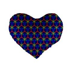 Honeycomb Fractal Art Standard 16  Premium Flano Heart Shape Cushions
