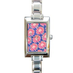 Pink Daisy Pattern Rectangle Italian Charm Watch